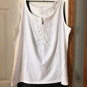 White tank top, NWT, St John's Bay, XL